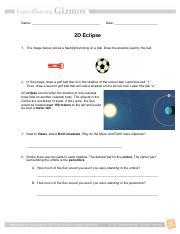 Student Exploration 2d Eclipse Answer Key Docx Student