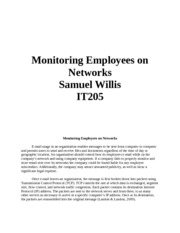 it205 week 4 checkpoint Monitoring Employees on Networks