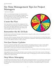 ISE 589 - Week 3 - 6 Time Management Tips for Project Managers