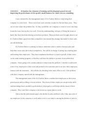 rough draft for training and development essay