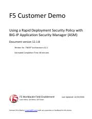 UDF Demo - Using an RDP Security Policy with ASM