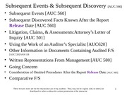 3161 Subsequent Events, Discovery, Going Concern .ppt