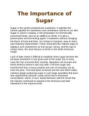 The Importance of Sugar.docx