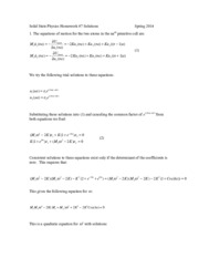 Solid State Physics Homework 7 Solutions 2014
