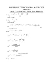 Math 1823 Final Exam April 1998 SOLUTIONS