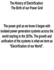 Electrification of Our World
