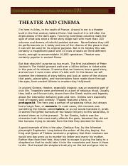 Theater and Cinema Transcript