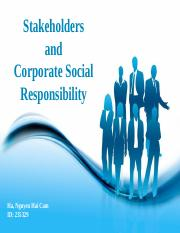 Stakeholders and CSR
