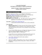UIUC BADM 375 Fall 2015 Syllabus