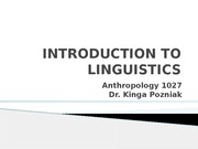 WEEK 1 - Intro to Linguistics