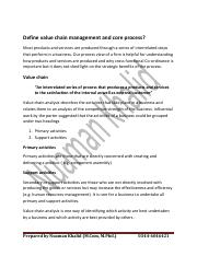 Define value chain management and core process