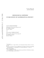 Homological Methods in Equations of Mathematical Physics-J.Krasil'schchik