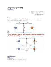 Circuit Theory - PHY301 Fall 2006 Assignment 07 Solution