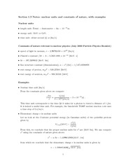 Physics 340a_Lecture Notes on Nuclear Units and Constants of Nature
