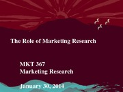 MKT 367 - Spring 2014 - The Role of Marketing Research - Student Notes