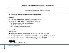 L1 - Role and Approaches to Valuation