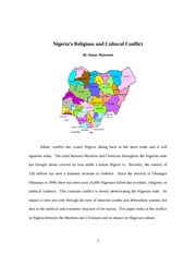 Nigeria's Religious and Cultural Conflict