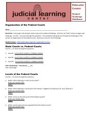 Judicial Learning Center – Student Challenge WebQuest – Organization of the Federal Courts