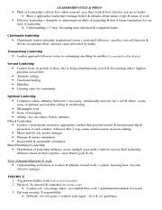Class 3 notes - Leadership style & philo