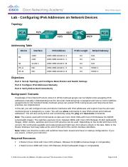 7.2.5.4 Lab - Configuring IPv6 Addresses on Network Devices.docx