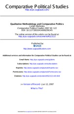 Qualitative Methodology and Comparative Politics