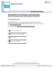 PHILOSOPHY PSYCHOLOGY AND RELIGION RELATIONSHIPS AND INTRA RELATIONSHIPS (1)