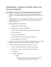 Sports Medicine- Contusions, Sprains, Strains and Overuse Syndromes Notes