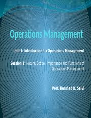 Operations Management - Session 1