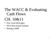 7,Lecture slides for 0722012Power Point Slides - Class 6 (WACC,NPV)