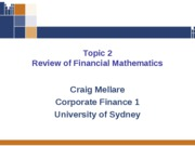 Topic Two - Review of Financial Mathematics (1)