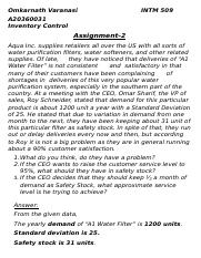 Inventory Assignment 2 Aqua Safety Stock.docx