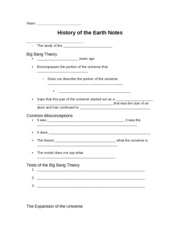 History of the Earth Notes Sheet