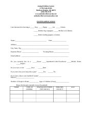 New Foster Application 2008