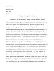 meaningful object essay begum ahmed professor courtney english  2 pages two ways to belong in america