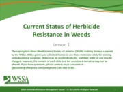 Final Lesson 1 072511 Current Status of Herbicide Resistance in Weeds