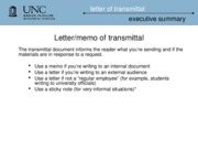 executive summary and transimittal document updated