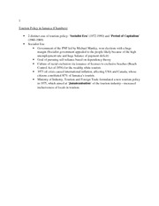Tourism Policy in Jamaica Chambers- Final Study Guide