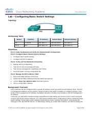 2.1.1.6 Lab - Configuring Basic Switch Settings
