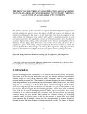 THE IMPACT OF JOB STRESS ON JOB SATISFACTION AMONG ACADEMIC FACULTY OF A MEGA DISTANCE LEARNING INST