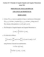 [D] Section 15.7 - Principle of Angular Impulse and Angular Momentum Derivation