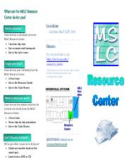 MSLC Resource Center flyer (Jan 6 2013)