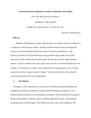 an experiment report malachite