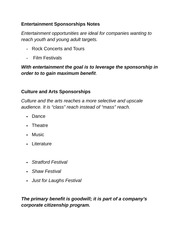 Entertainment Sponsorships Notes