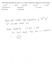 Worked Solutions to Chapter 9 Water Exam MC Questions