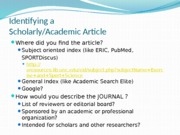 Identifying a scholarly article--Fall 2015.pptx