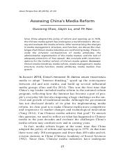 Shao, G., Lu, J.,  Hao, Y. (2016). Assessing Chinas Media Reform. Asian Perspective, 40(1), 27-50..p