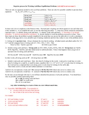 10 - Water equilibria, supplement, the six steps to solve acid base calculations