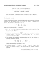 Quantum Mechanics Exam August 2012