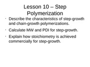 Lesson 10 - Step Polymerization