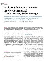 Molten-Salt Power Towers- Newly Commercial Concentrating Solar Storage